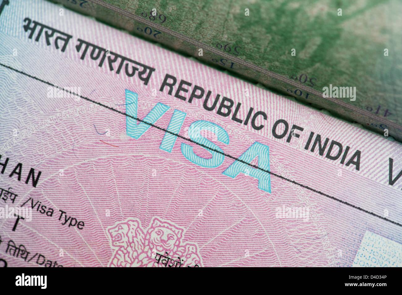 Indian visa in a British passport Stock Photo