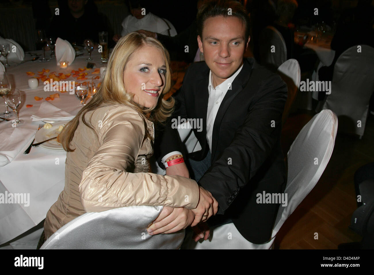 Singer couple Stefanie Hertel and Stefan Mross are pictured at the after show party of live tv show 'Willkommen - Stock Image