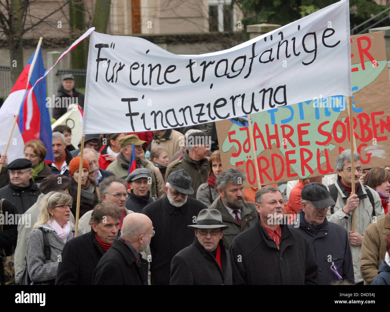 Sorbs and members of staff of Sorb institutions demonstrate in Bautzen, Germany, 17 March 2008. The demonstrators - Stock Image