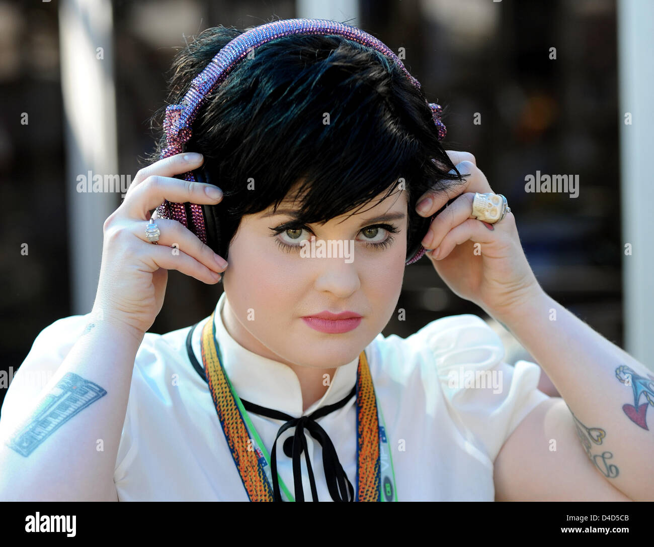 British singer Kelly Osbourne, daughter of rock music's Prince of Darkness Ozzy Osbourne, pictured at the Formula - Stock Image