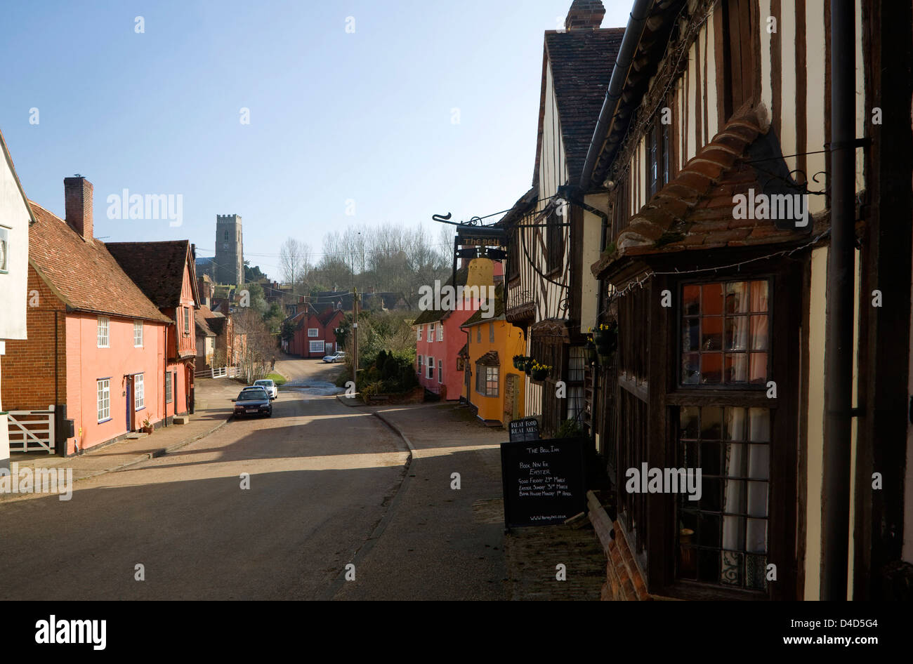 Historic buildings in the village of Kersey, Suffolk, England - Stock Image