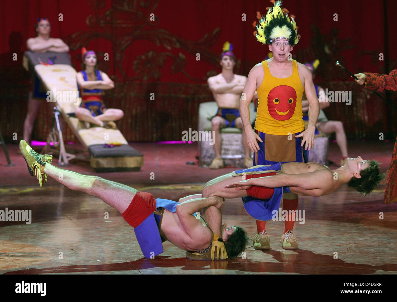Artistes perform during the dress rehearsal of Swiss circus 'Salto Nationale' in Berlin, Germany, 19 March - Stock Image