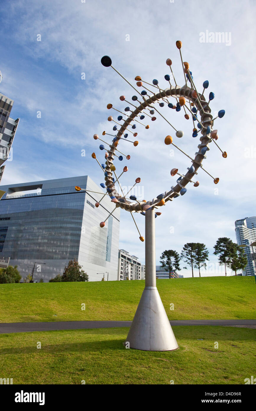 'Blowhole' wind-powered sculpture by Duncan Stemler in Docklands Park. Melbourne, Victoria, Australia - Stock Image