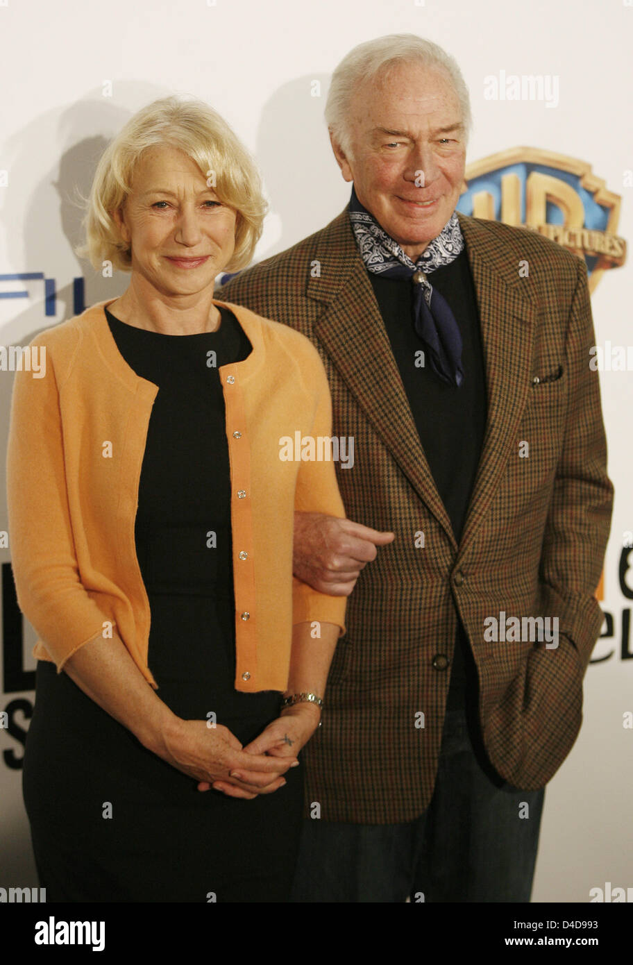 British actress Hellen Mirren (L) and Canadian actor Christopher Plummer (R) pose during a photo call on their film - Stock Image