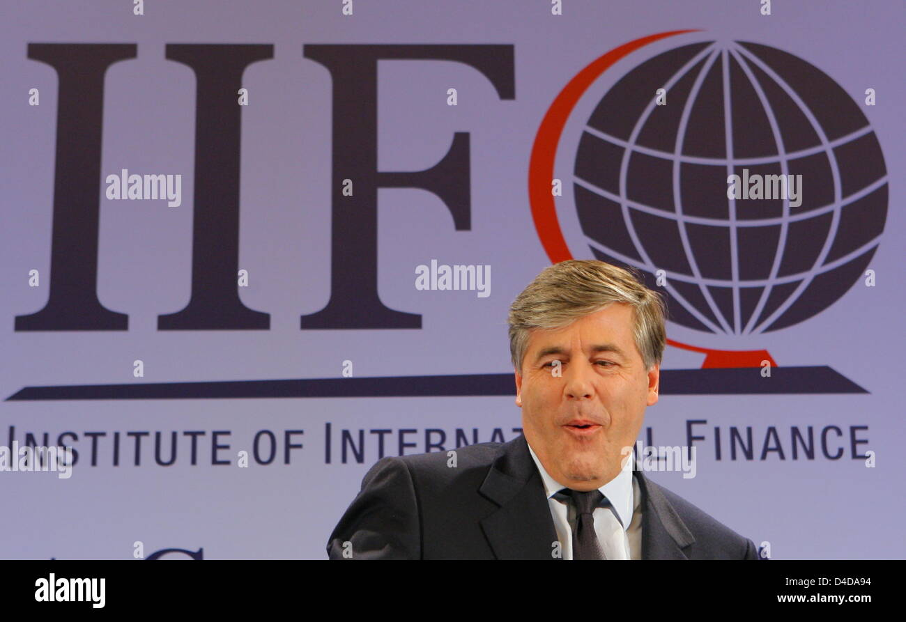 Josef Ackermann, CEO of Deutsche Bank and president of the global association of financial institutions IFF (Institute - Stock Image