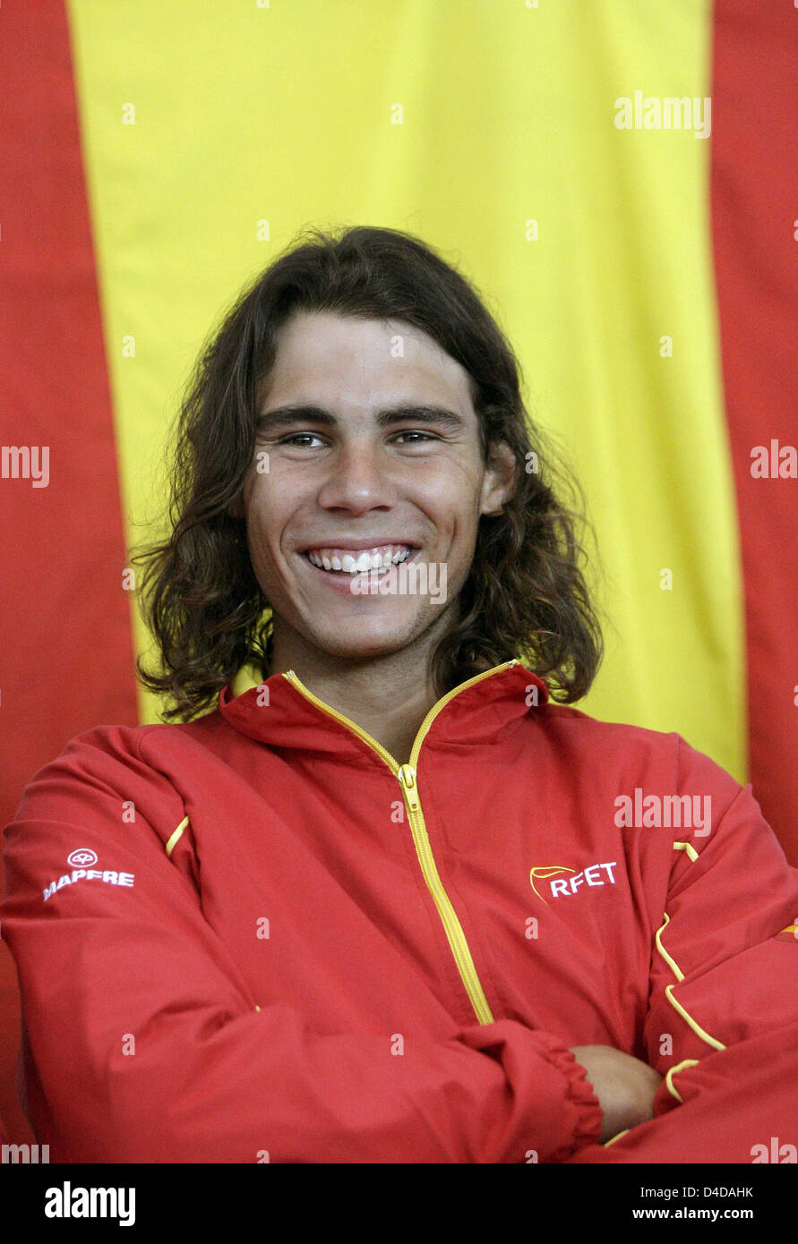 Rafael Nadal Of Spain Smiles After The Match Drawings In Bremen Stock Photo Alamy