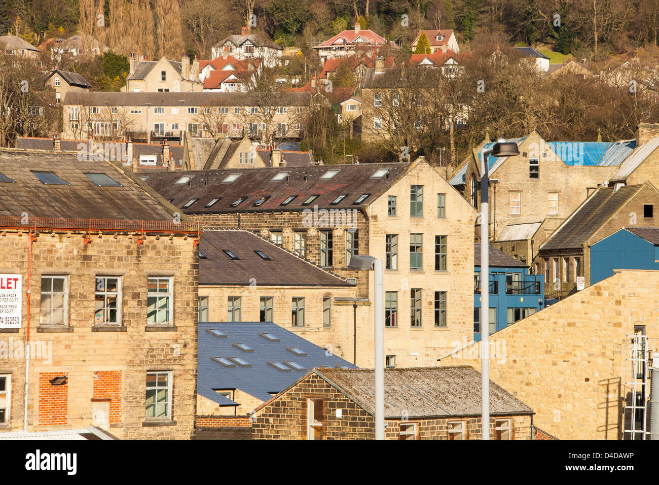 Old cotton mills in Bingley West Yorkshire, UK. - Stock Image