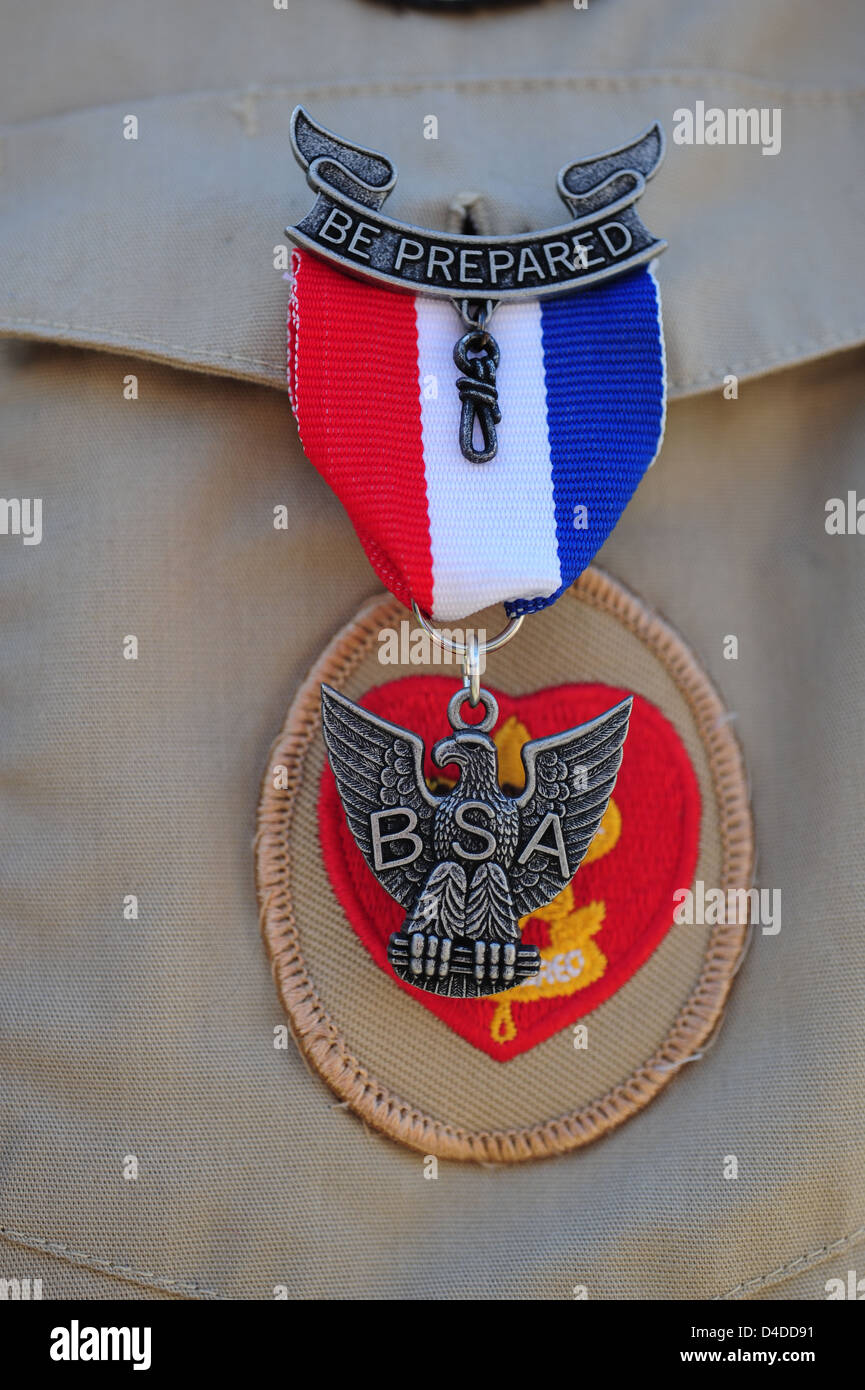 Boy Scouts of America close up of an Eagle Scout with Eagle Pin - Stock Image