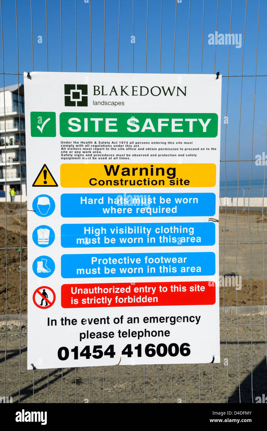 Construction site warning and helth and safety sign - Stock Image