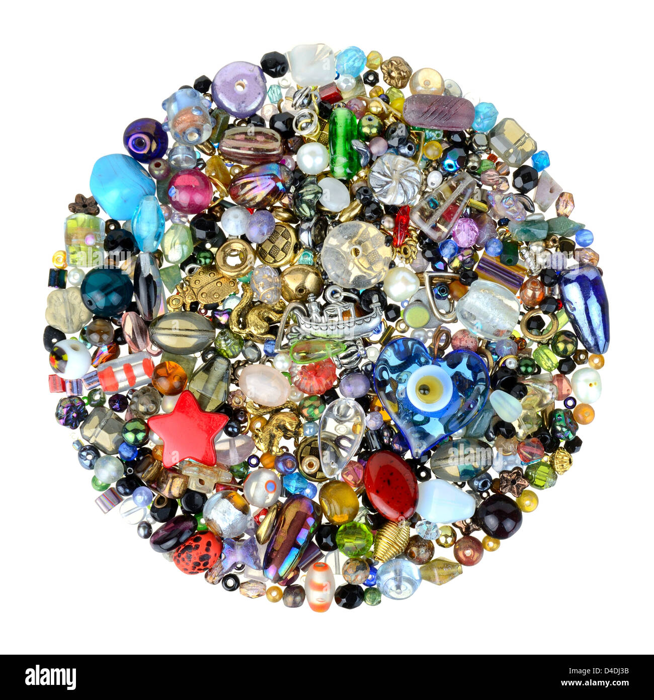 glass beads and charms for jewelry making - Stock Image