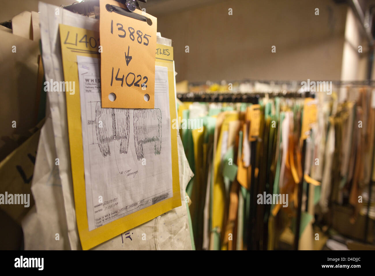 Archive room at British clothes manufacturer Private White V.C. in Salford, Manchester, England, UK - Stock Image