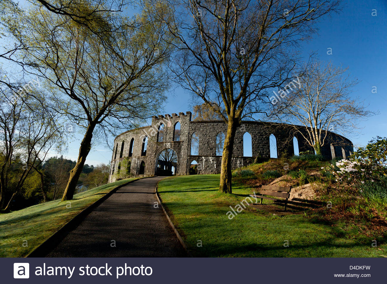 McCaig's Tower is a prominent folly on the hillside overlooking Oban in Argyll, Scotland. - Stock Image