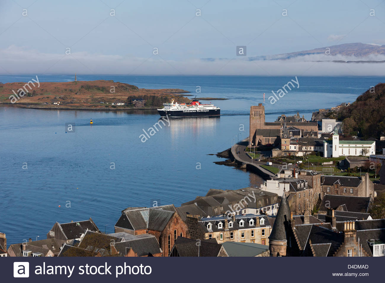 Caledonian MacBrayne ferry arriving into Oban from Craignure on the Isle of Mull. - Stock Image