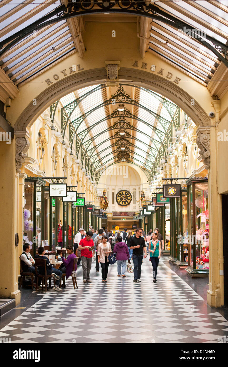 Shoppers in historic Royal Arcade - a heritage shopping arcade in the city centre. Melbourne, Victoria, Australia Stock Photo