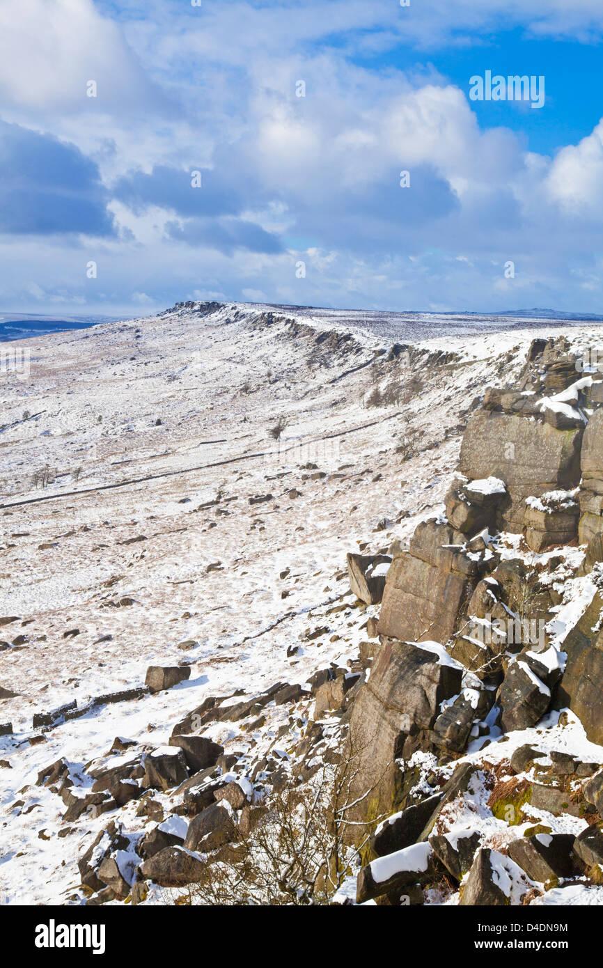 Stanage Edge snow Peak district national park Derbyshire England UK GB EU Europe - Stock Image