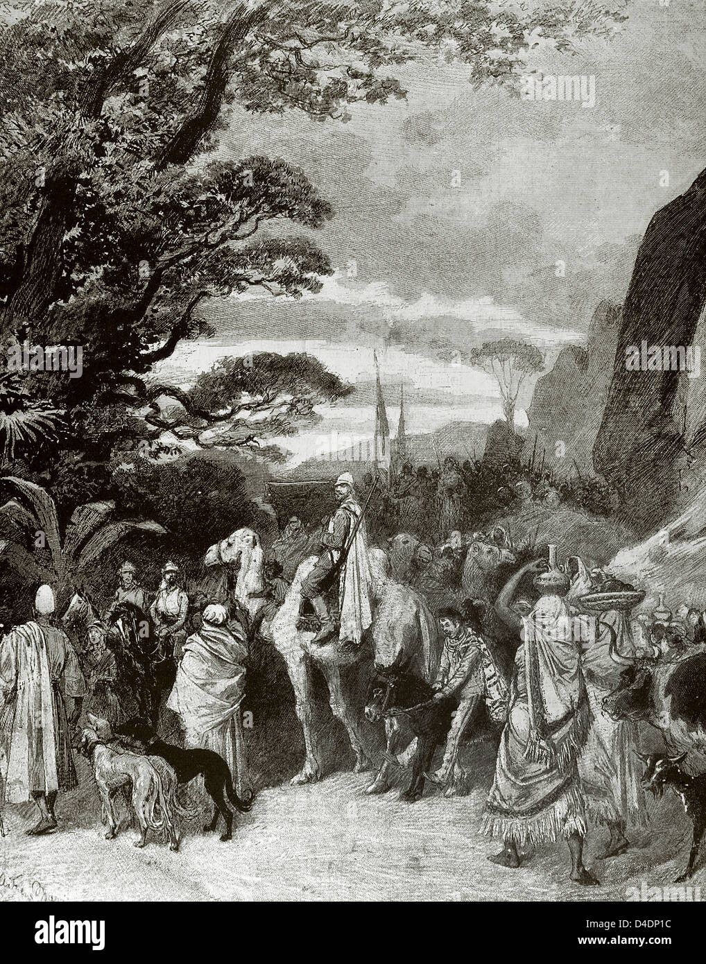Adolphe Belot (1829-1890). French dramatist and novelist. The Black Venus: Journey to Central Africa. The Caravan. - Stock Image