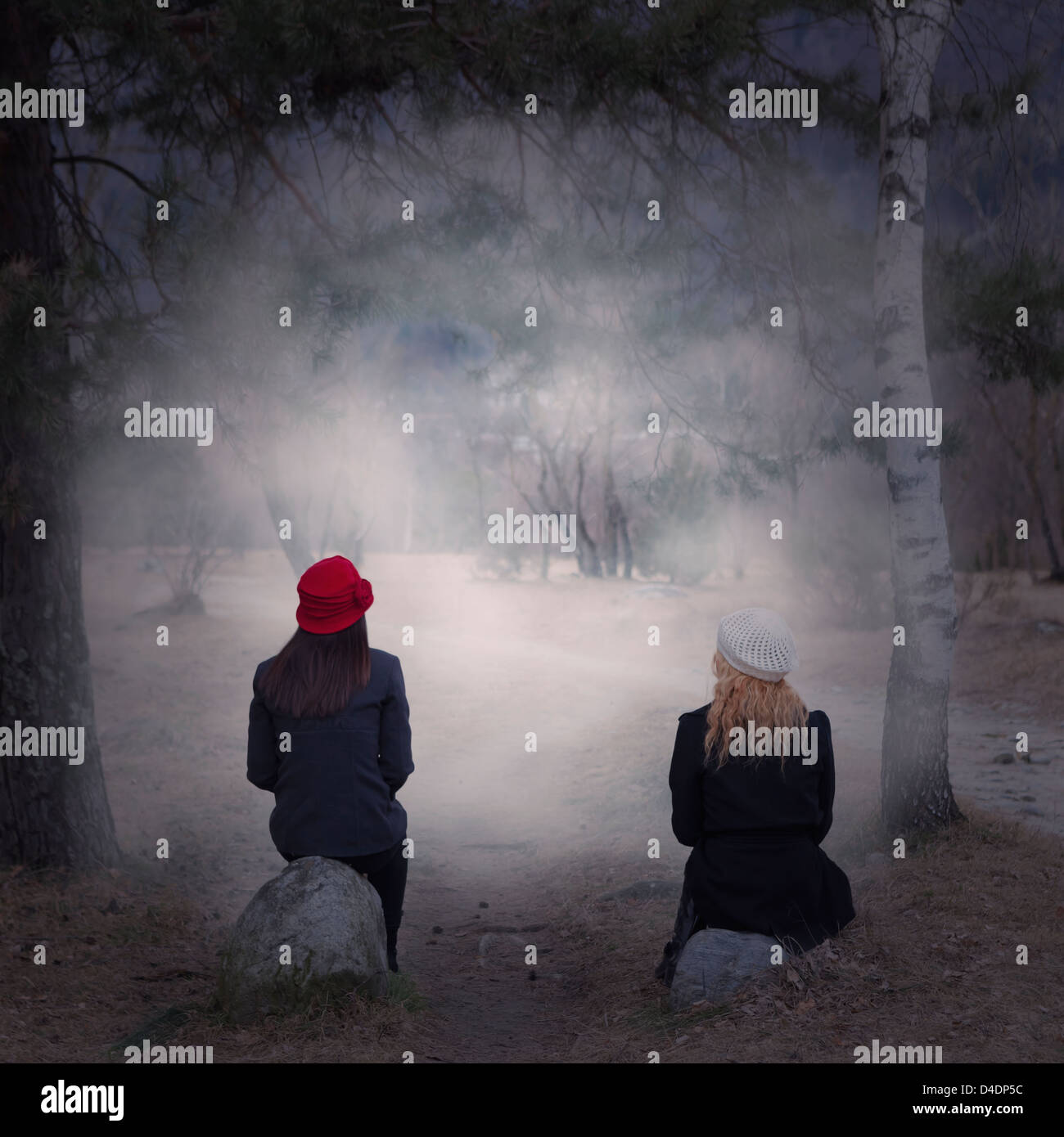 two girls sitting on stones in a forest - Stock Image