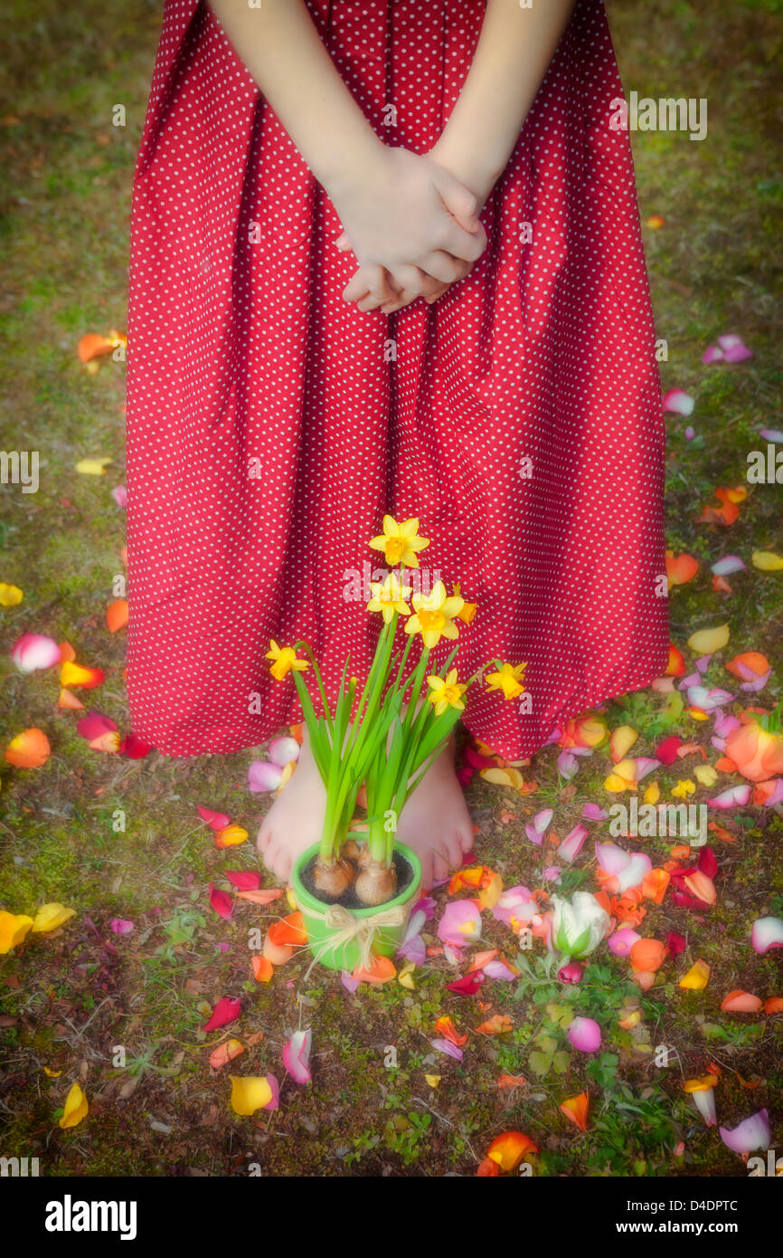 a girl is standing in front of daffodils - Stock Image