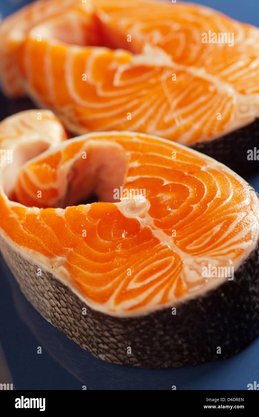 raw salmon steaks - Stock Image