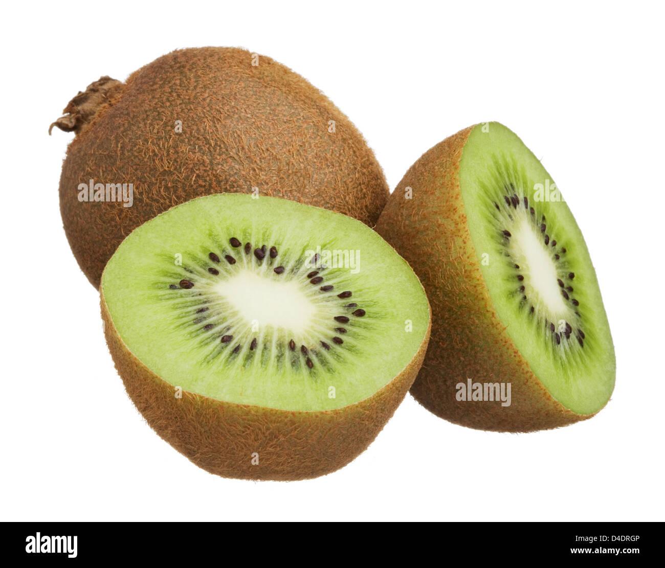 Kiwi cut in half isolated on white background - Stock Image