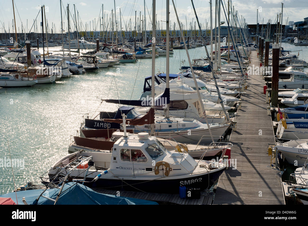 Boats and Yachts in Brighton Marina, Brighton, East Sussex, England, UK - in the late afternoon light - Stock Image