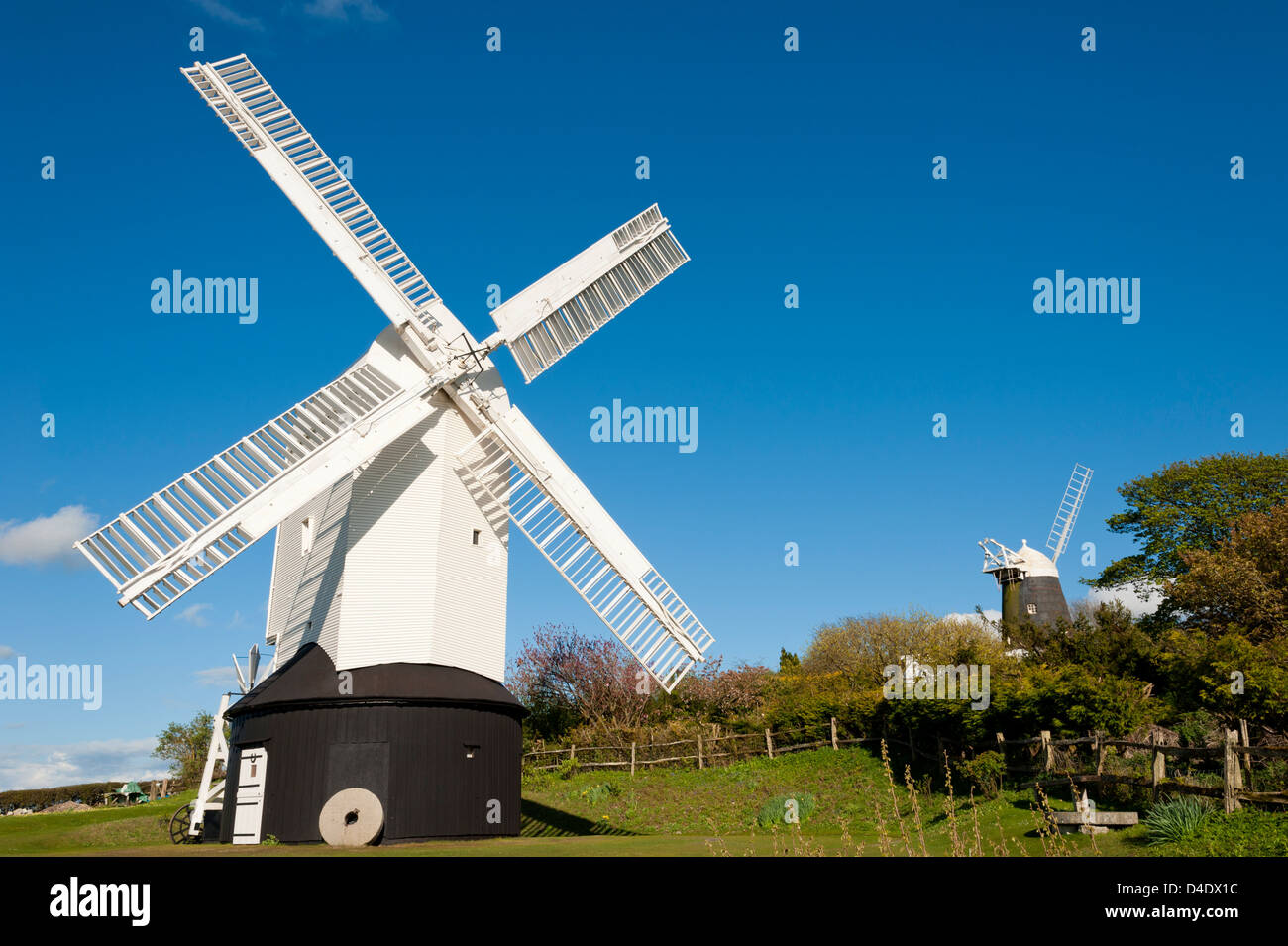 Clayton Windmills - also known as Jack and Jill windmills - South Downs, West Sussex, UK - Stock Image
