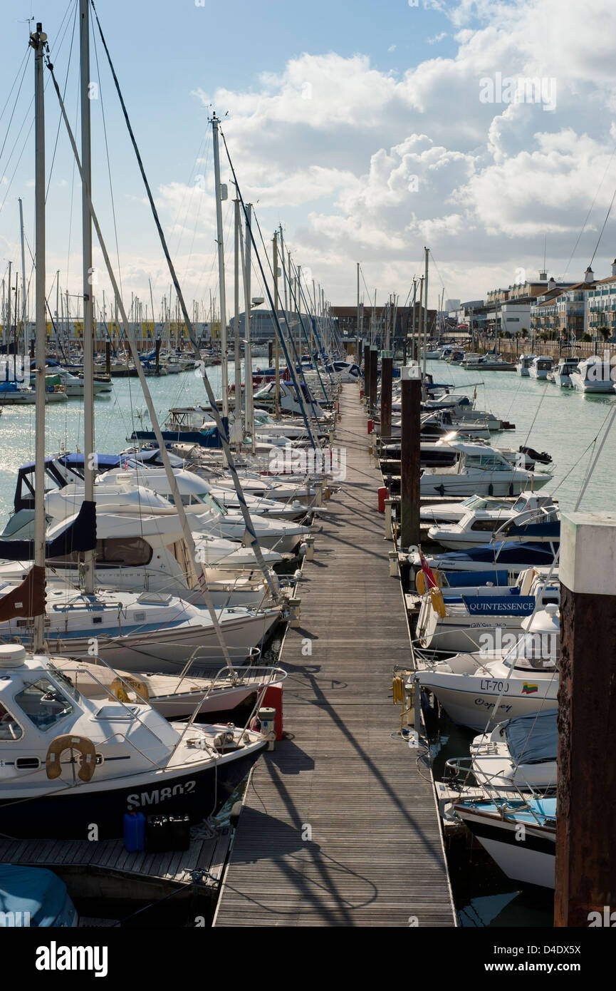 Boats and Yachts in Brighton Marina, Brighton, East Sussex, England, UK - Stock Image