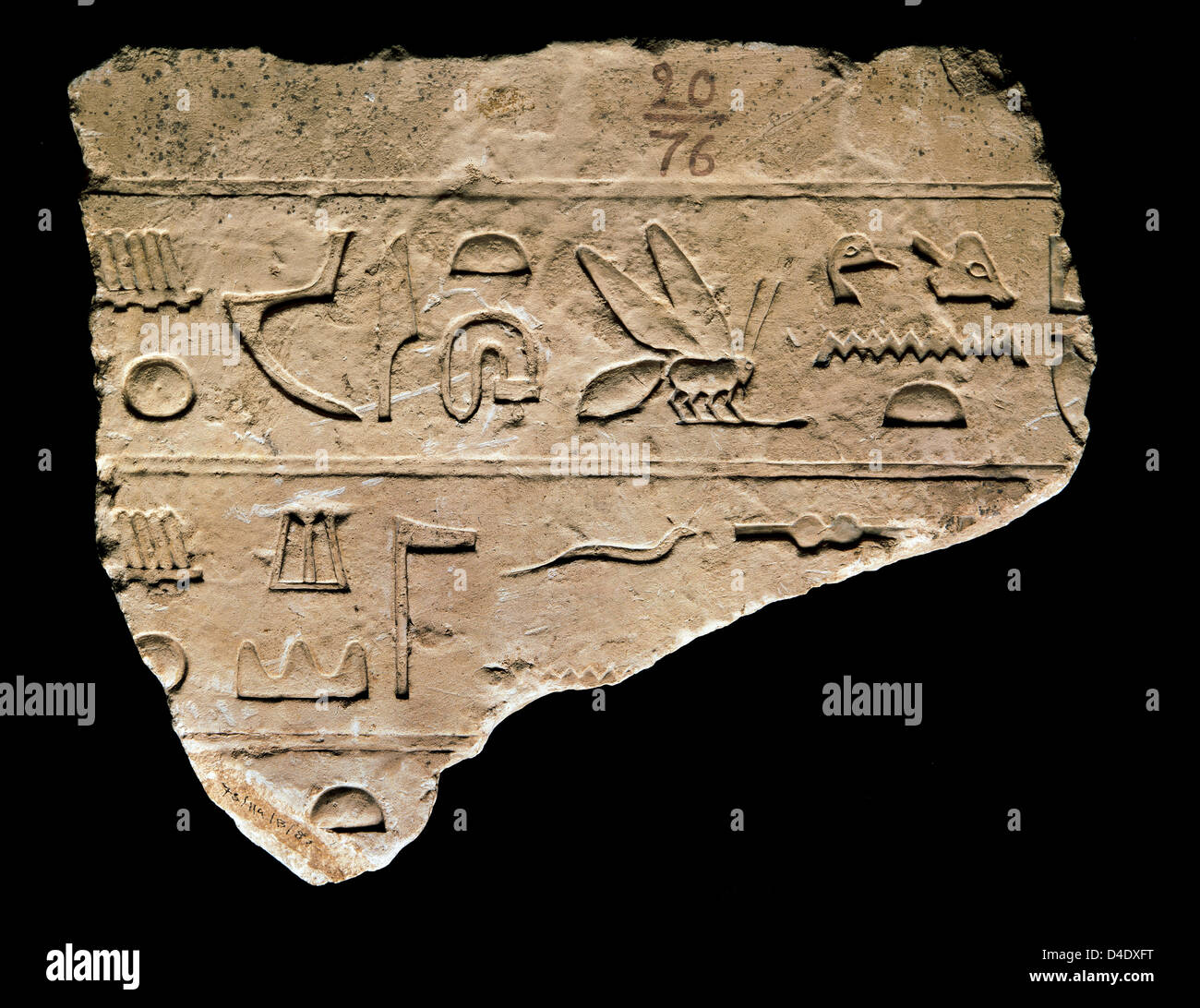 Egyptian art. Detail of a hieroglyph. Engraved in stone. National Archaeological Museum. Madrid. Spain. - Stock Image