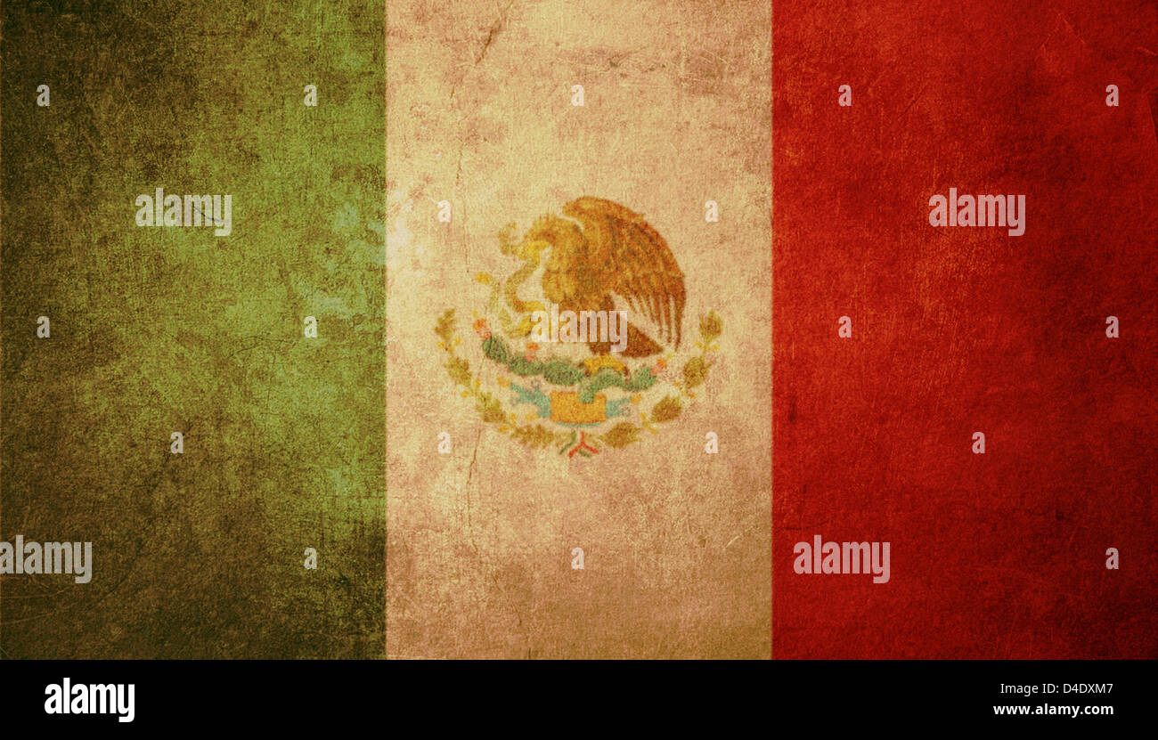 mexico flag with old texture grunge and vintage - Stock Image
