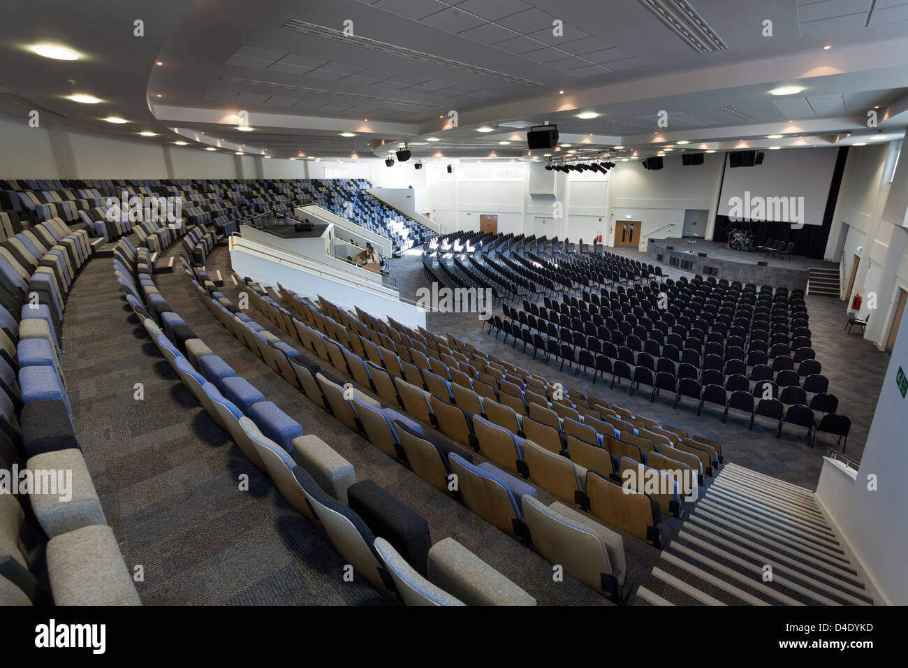 Kings Community Church modern church to hold1200 people with tiered seating. - Stock Image