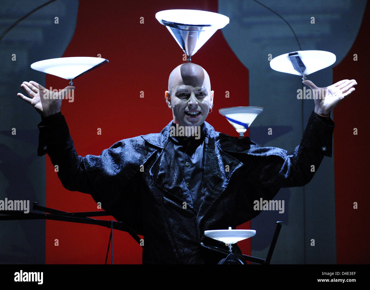 German juggler Jochen Schell poses during a photo call on the vaudeville show 'Orientalis' in Berlin, Germany, - Stock Image
