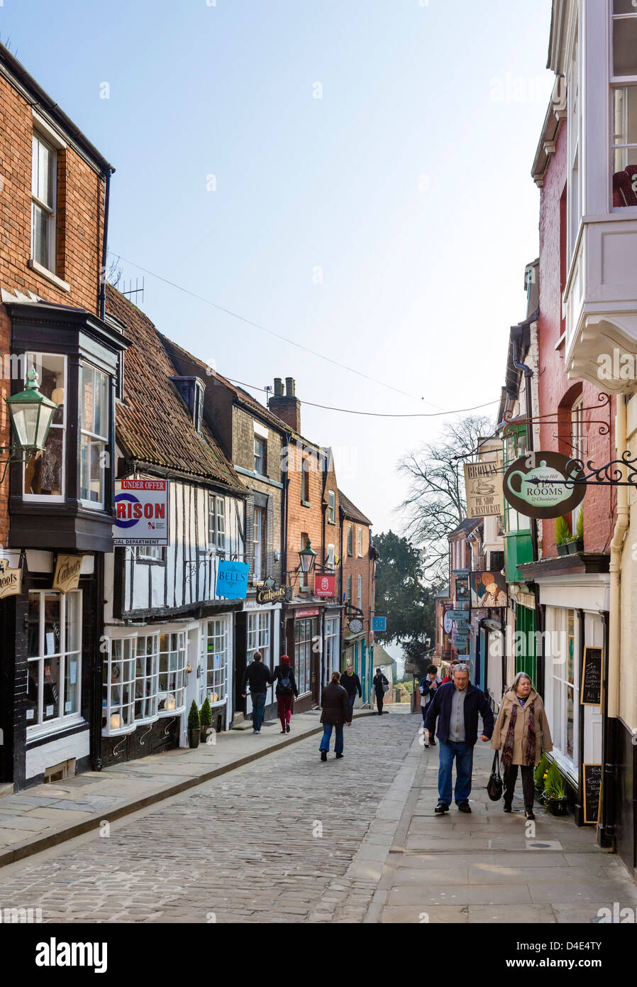 The famous Steep Hill in the historic old town, Lincoln, Lincolnshire, East Midlands, UK Stock Photo