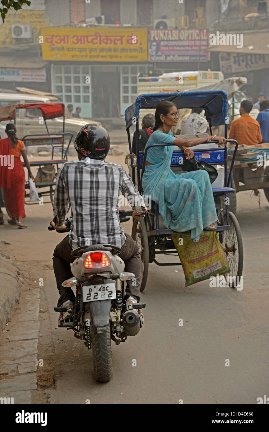 Traffic congestion in Old Delhi, India - Stock Image