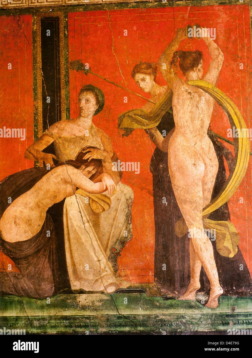 Pompeii (Italy)'Dionysiac initiation (detail)  c. 70 B.C.E. Fresco, Villa of the Mysteries, Pompeii - Stock Image