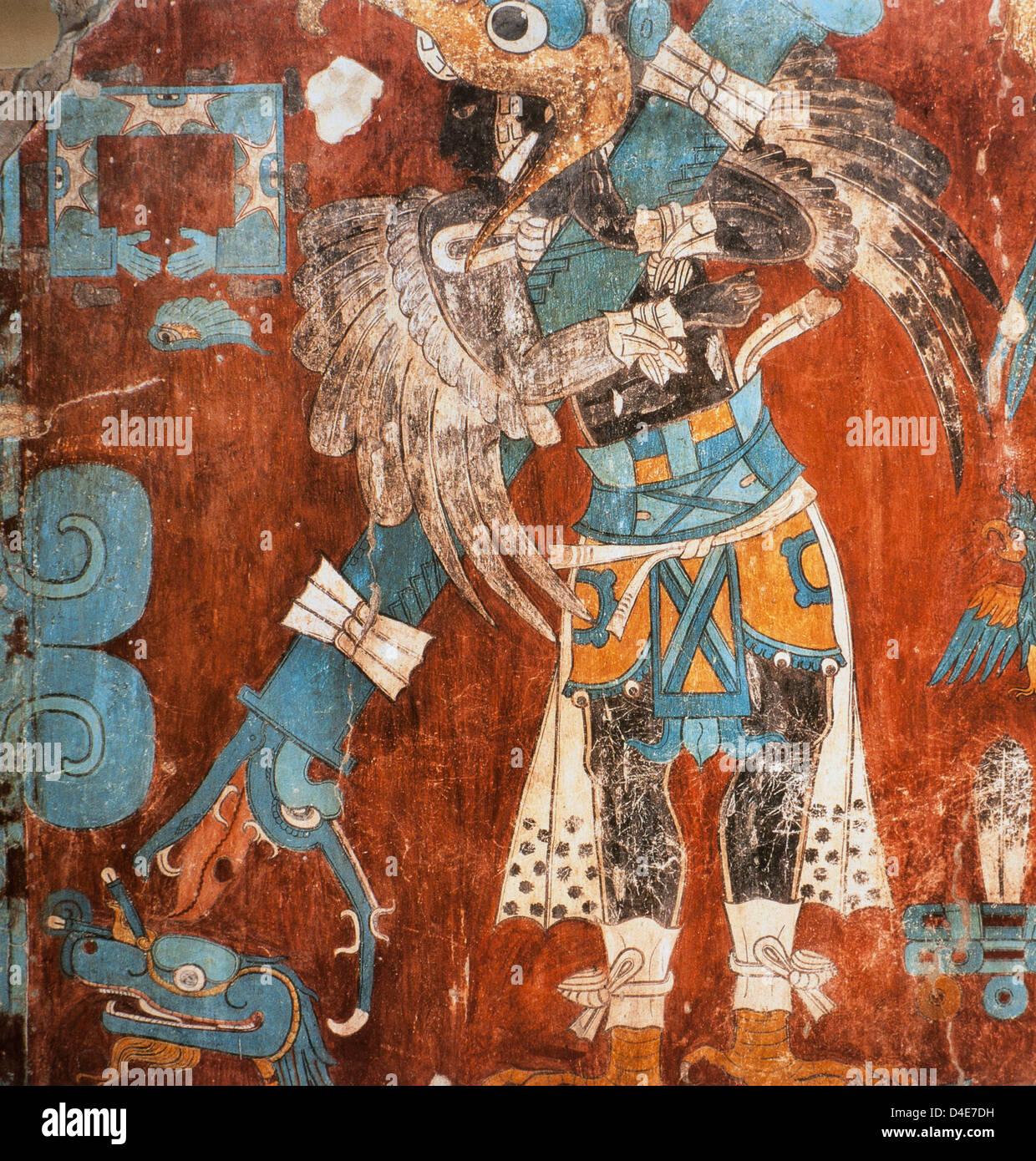 Cacaxtla (Tiaxcala) Battle Scene mural detail c. 900 near Mexico City artist unknown - Stock Image