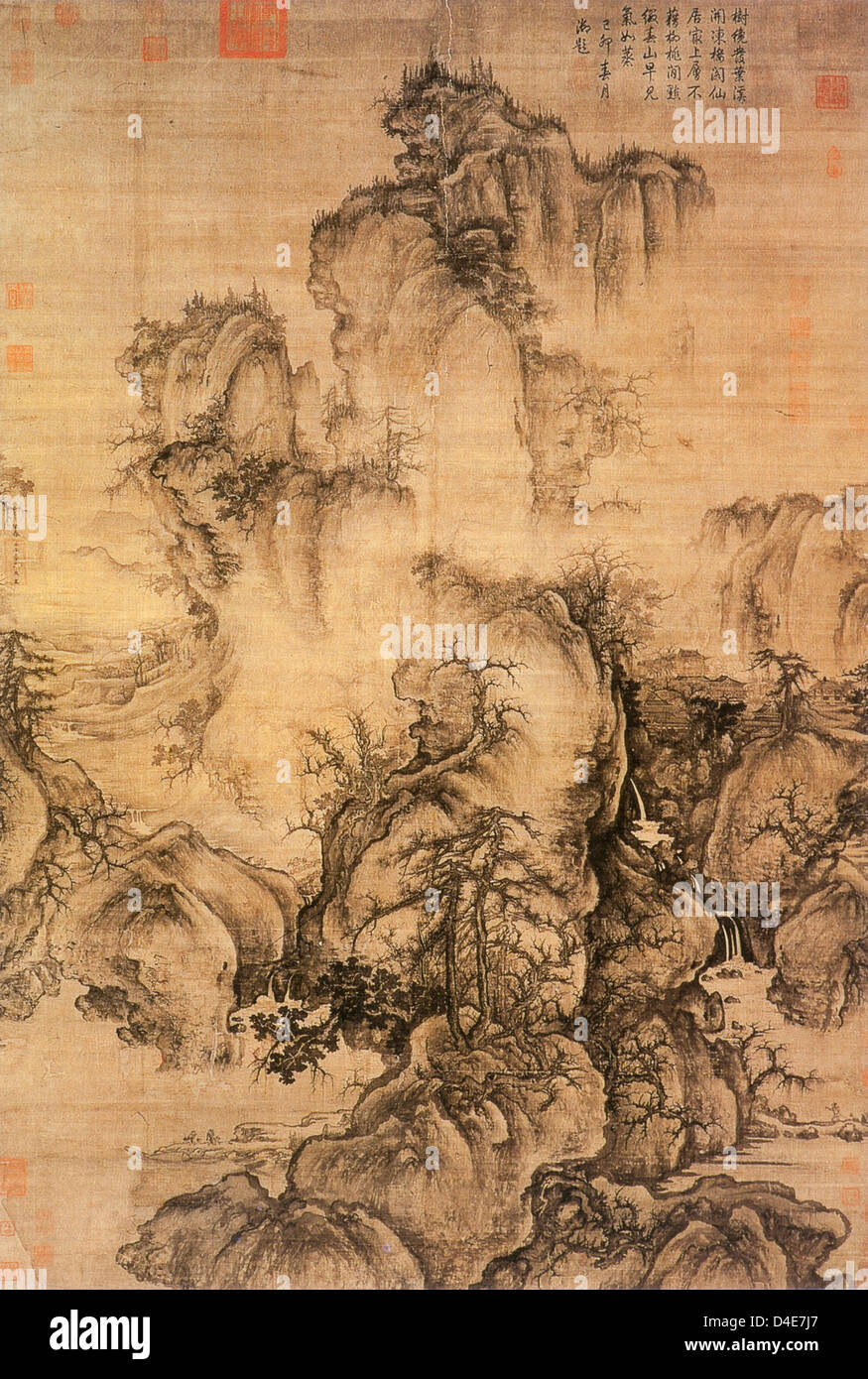 Early Spring, 1072 by Guo Xi ink on silk, National Palace Museum, Taipei - Stock Image