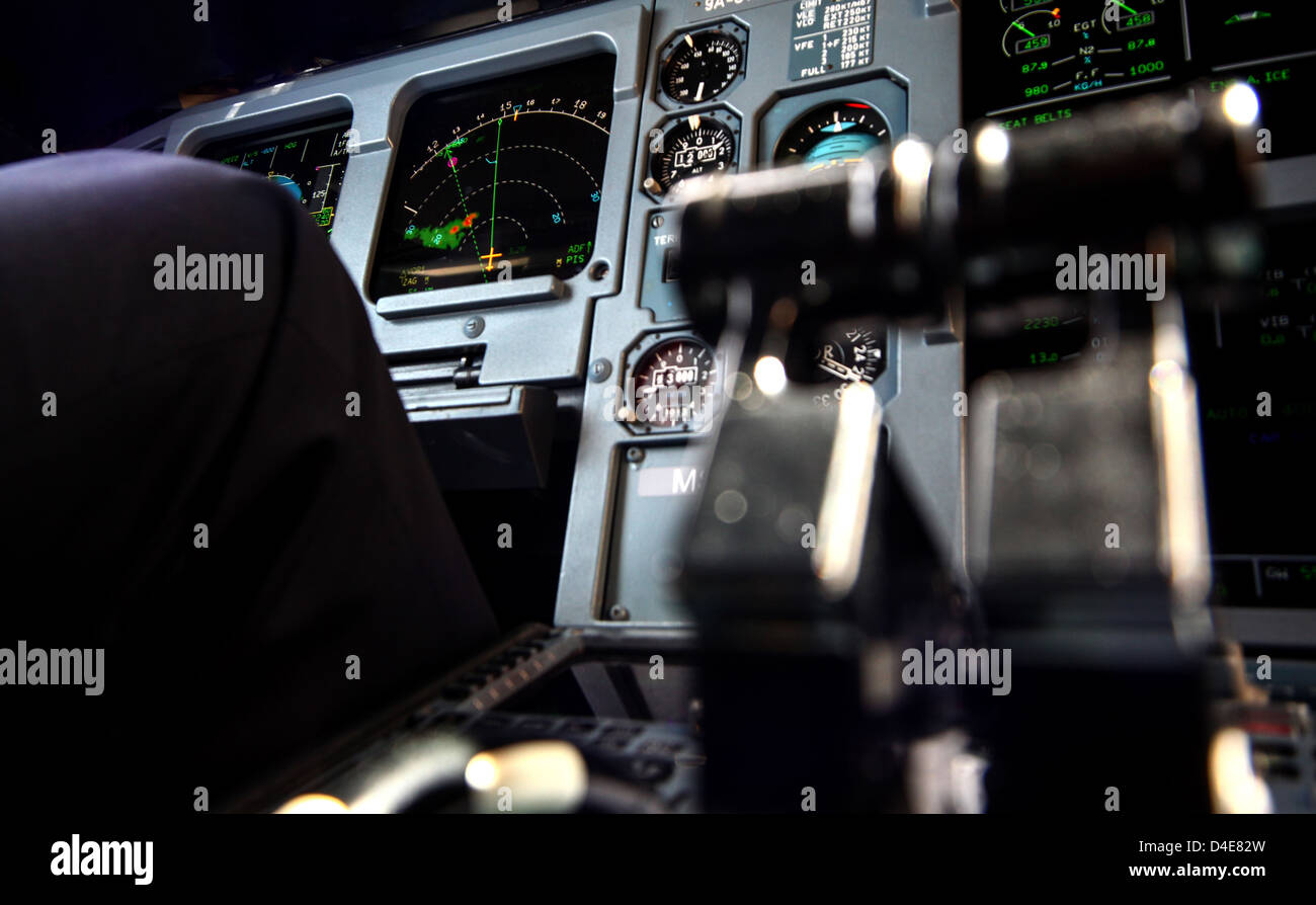 View of cockpit in air plain Airbus A320. - Stock Image