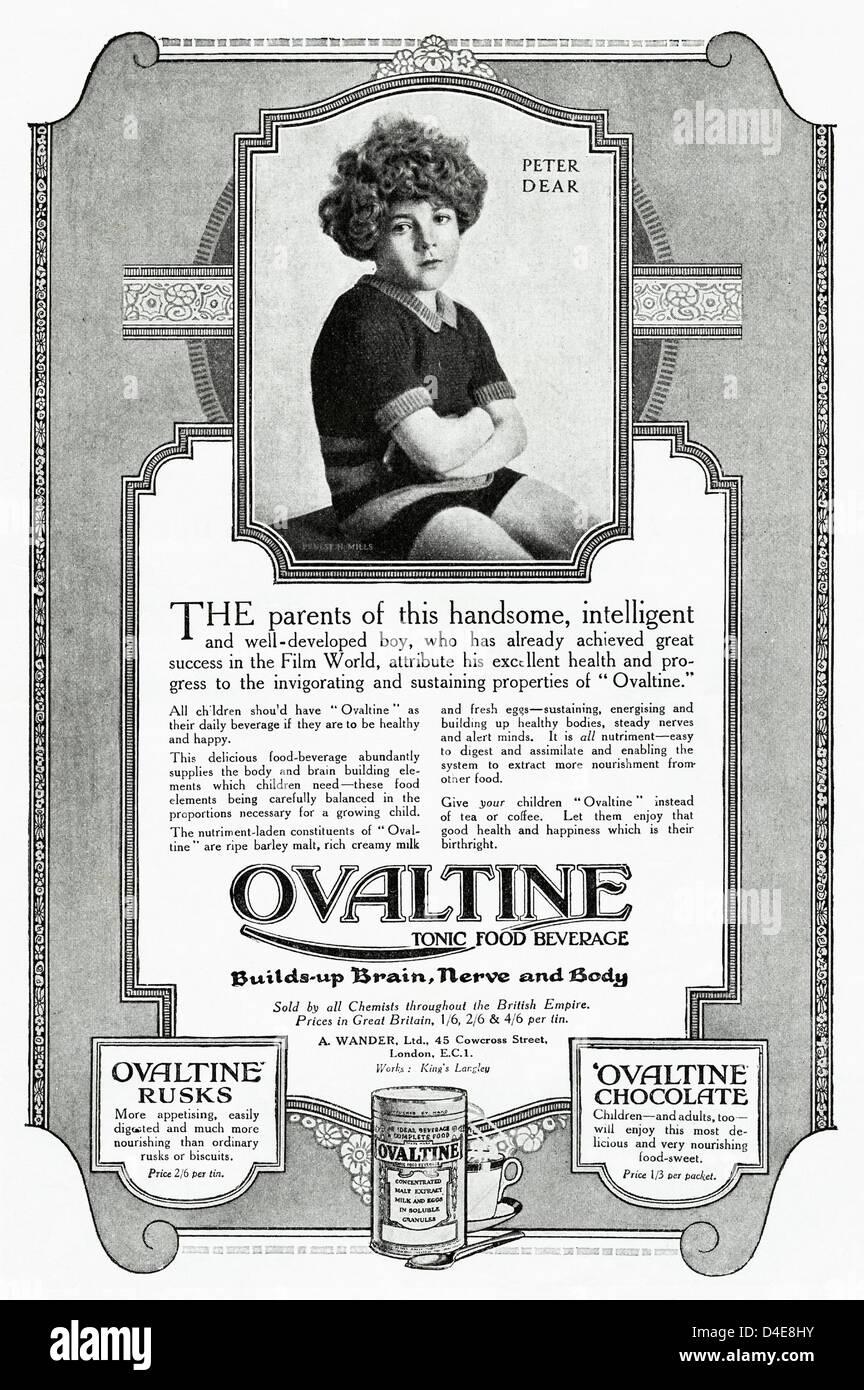 Original 1920s era vintage advertisement print from English magazine advertising OVALTINE tonic food beverage - Stock Image