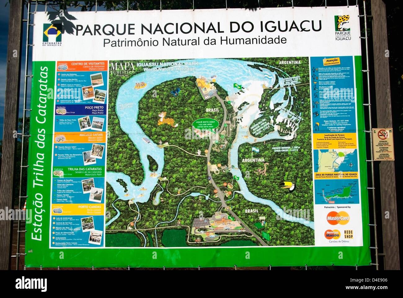 Sign for iguacu national parkh close up of map curitiba paranaj sign for iguacu national parkh close up of map curitiba paranaj brazil gumiabroncs Images