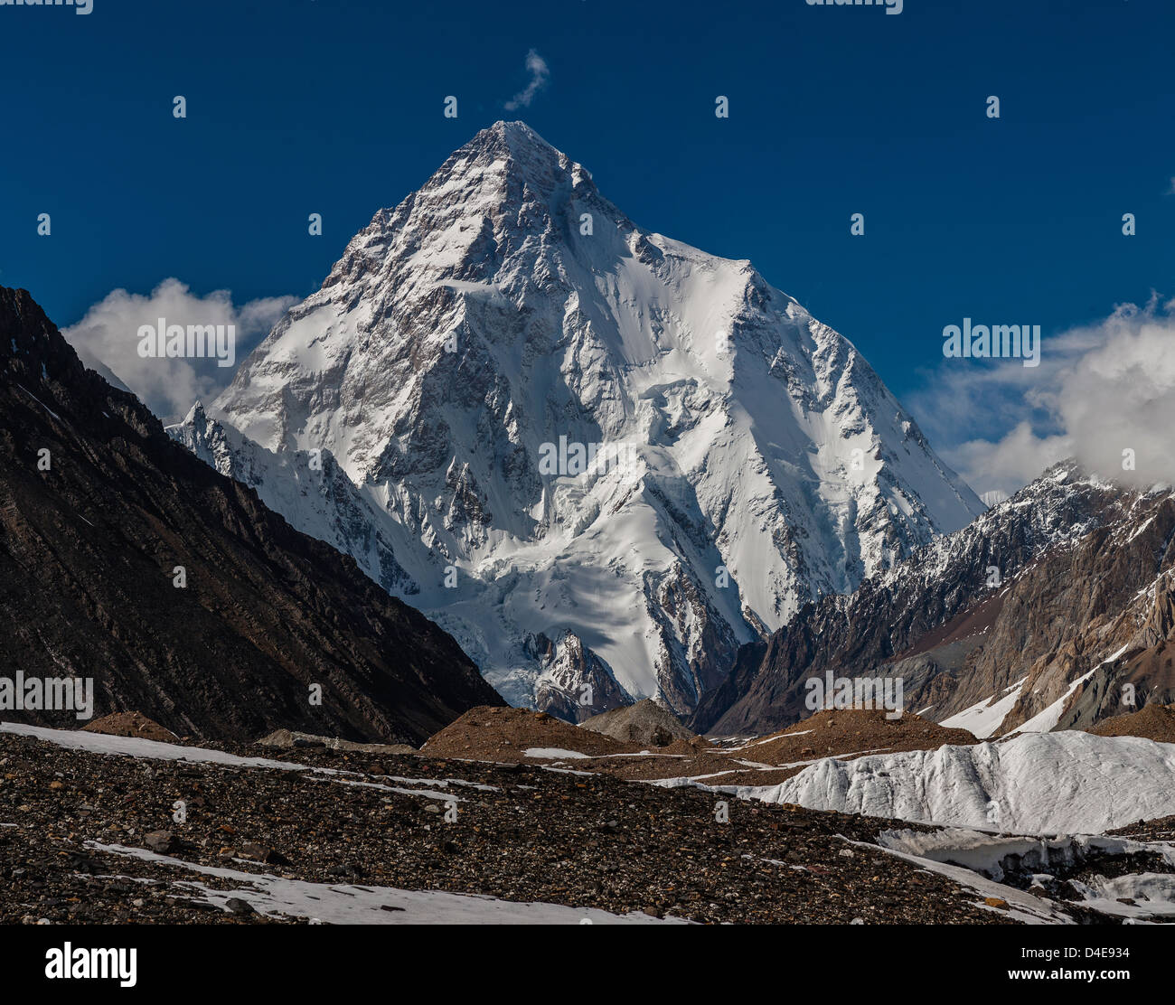 High Resolution photo of K2 8611m is the second-highest mountain on Earth, K2 is the highest point of the Karakoram - Stock Image