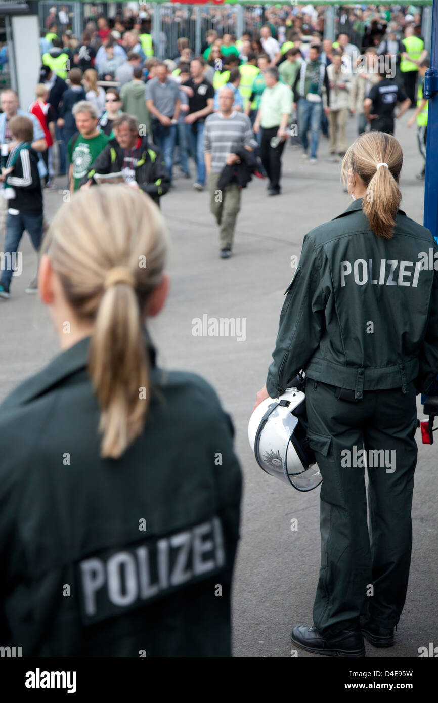 Muenster, Germany, police intervention in football stadium - Stock Image