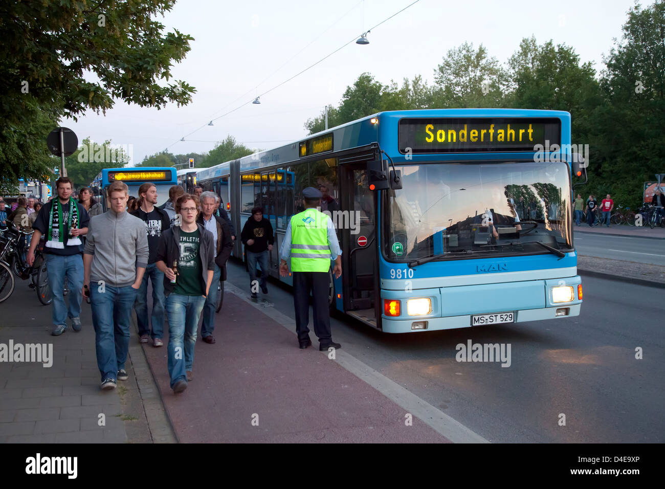 Muenster, Germany, special buses carrying football fans after the football game - Stock Image