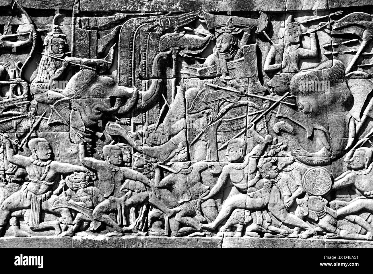 Relief depicting the Ramayana Epic, Bayon Temple, Angkor Thom - Stock Image