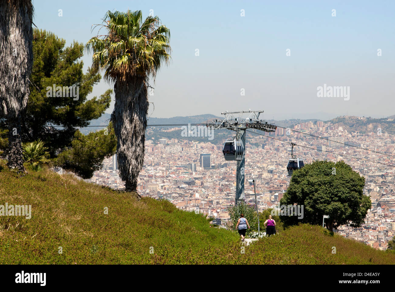 Cable car to Montjuic, Barcelona (Catalunya), Spain - Stock Image