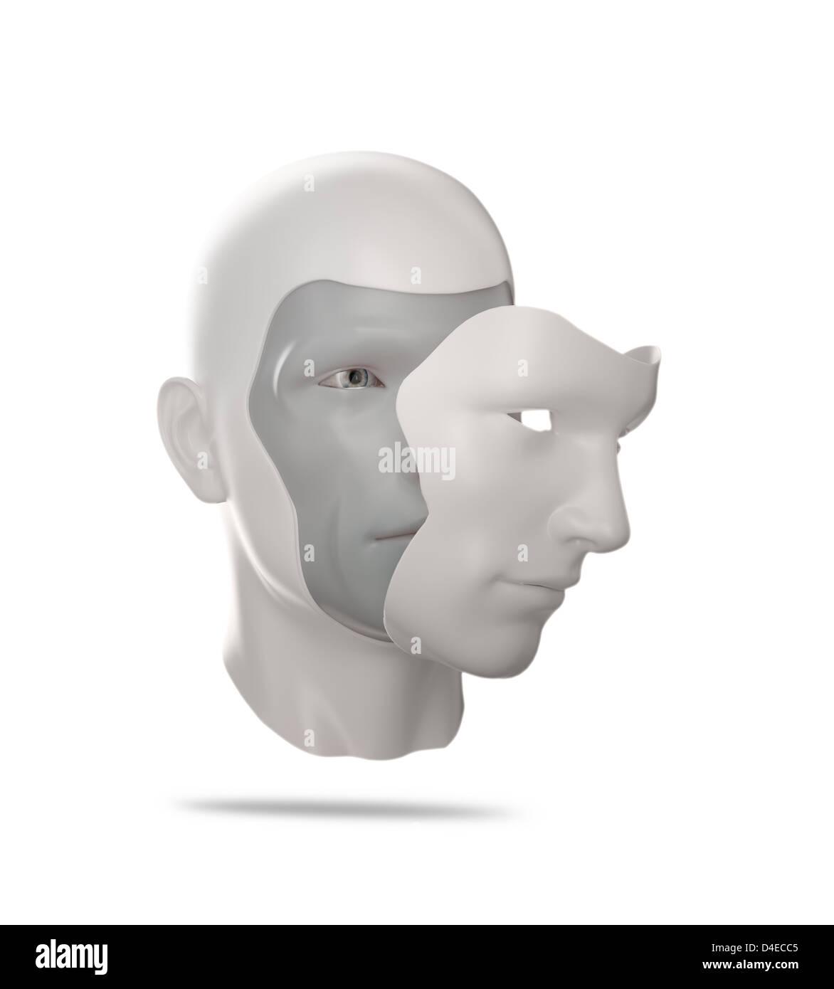 A human mask - psychology concept illustration - Stock Image