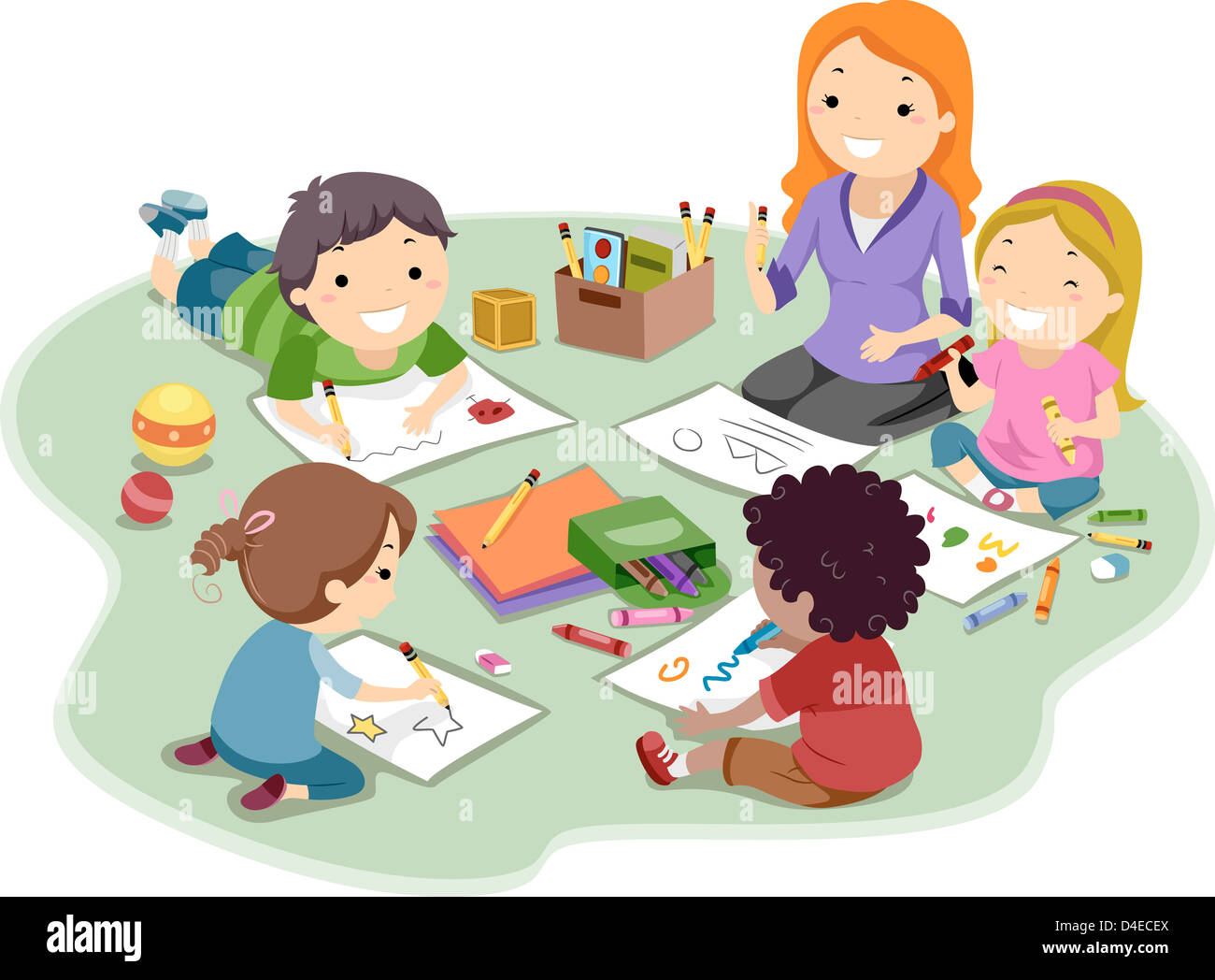 - Kids Coloring And Drawing Stock Photo: 54406882 - Alamy