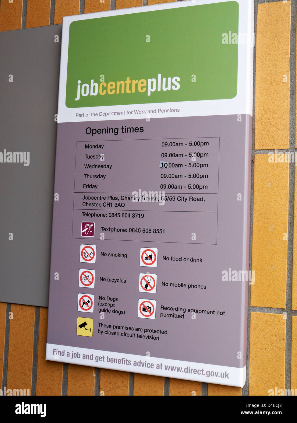 Job centre plus sign in Chester Cheshire UK Stock Photo