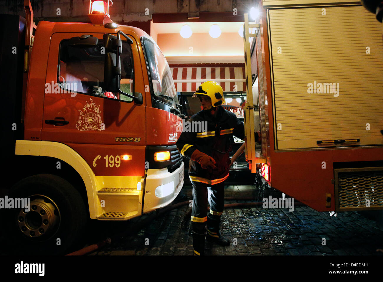 Thessaloniki, Greece. 12th March 2013. Arson attack with gas canisters in the offices of New Democracy MPs. A building Stock Photo