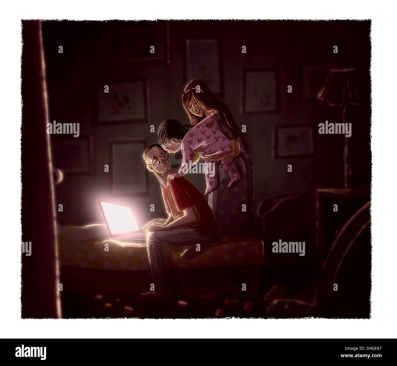 A Baby Saying Goodnight To Her Father Stock Photo 54408263 Alamy