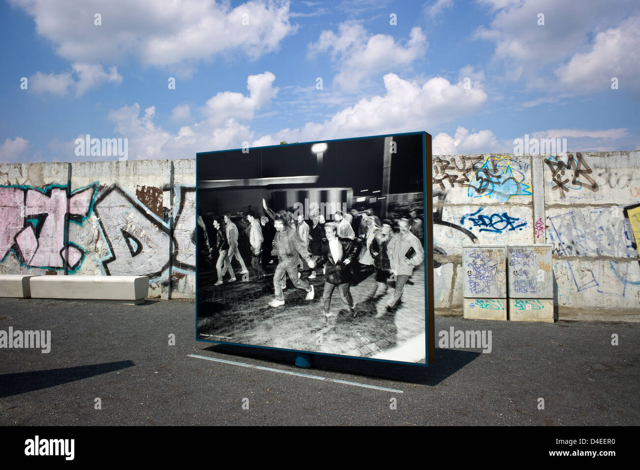 Berlin, Germany, the place of the 9th November 1989 to the Boese-bridge - Stock Image